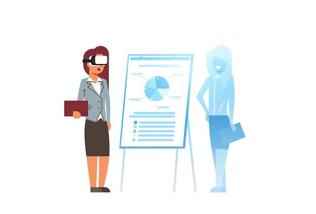 Businesswoman wear digital glasses virtual reality woman flip chart financial presentation