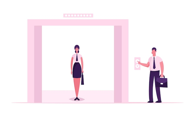 Businesswoman wearing formal dress stand in elevator with open doors waiting inside lift stopped with male character push button