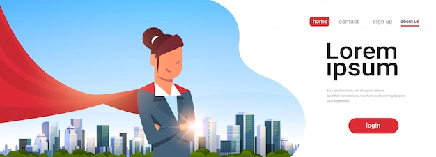 Businesswoman wearing red super hero cape landing page