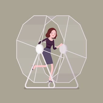 Businesswoman in a wheel
