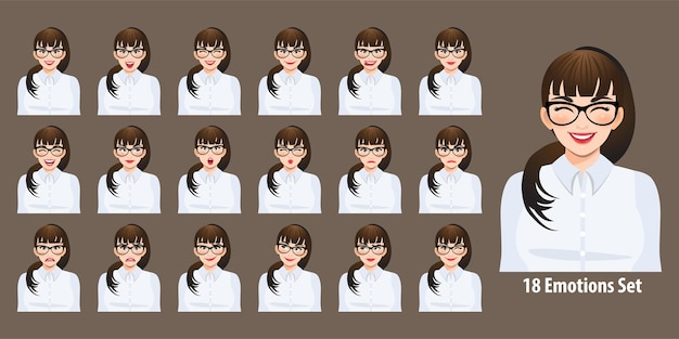 Businesswoman in white shirt with different facial expressions set isolated