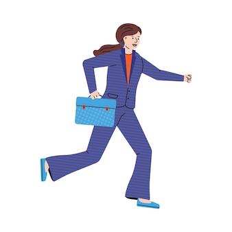 Деловая женщина с портфелем работает плоской иллюстрации шаржа