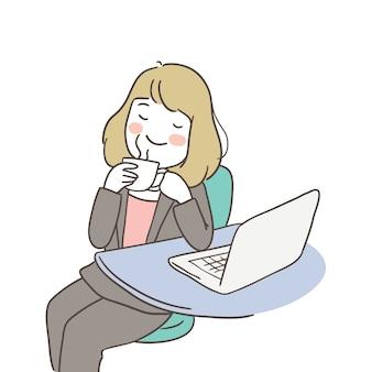リラックス時間にコーヒーブレークを持つ実業家