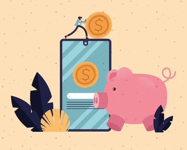 동전 스마트 폰 및 돼지 디자인, 비즈니스 및 관리 테마 일러스트와 함께 사업가