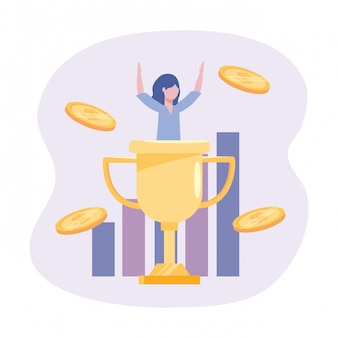 Businesswoman with cup prize and statistics bar with coins