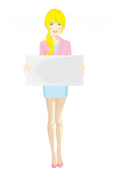 Businesswoman with different blank banners
