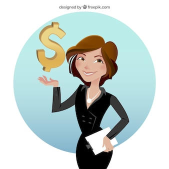 Businesswoman with dollar sign