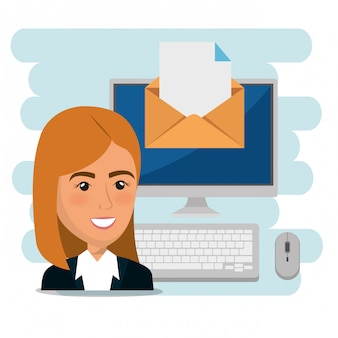 Businesswoman with e-mail marketing icons