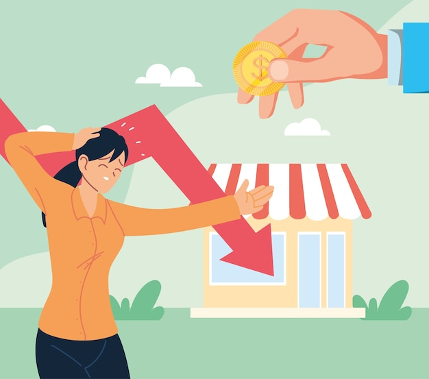Businesswoman with headache and decrease arrow in front of store