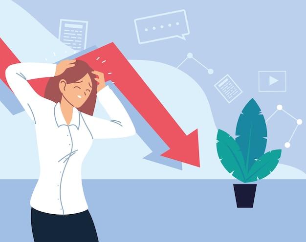 Businesswoman with headache decrease arrow and plant