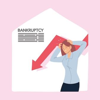 Businesswoman with headache and decrease arrow