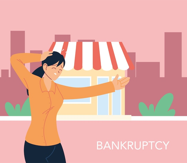 Businesswoman with headache in front of store