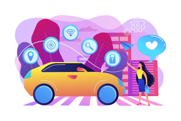 Businesswoman with heart likes using autonomos car with technology icons. autonomous car, self-driving car, driverless robotic vehicle concept. bright vibrant violet  isolated illustration