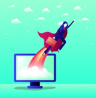 Businesswoman with hero coat flying in desktop