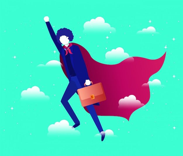 Businesswoman with hero coat flying in the sky