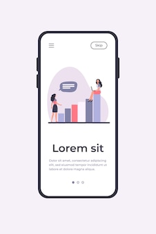 Businesswoman with laptop on top of growth diagram. her colleague standing on ground flat vector illustration. business success, career concept for banner, website design or landing web page