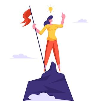 머리 위에 전구를 가진 사업가 산 꼭대기에 올라 깃발 게양