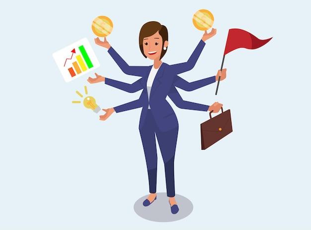 Businesswoman with multi tasking skills.