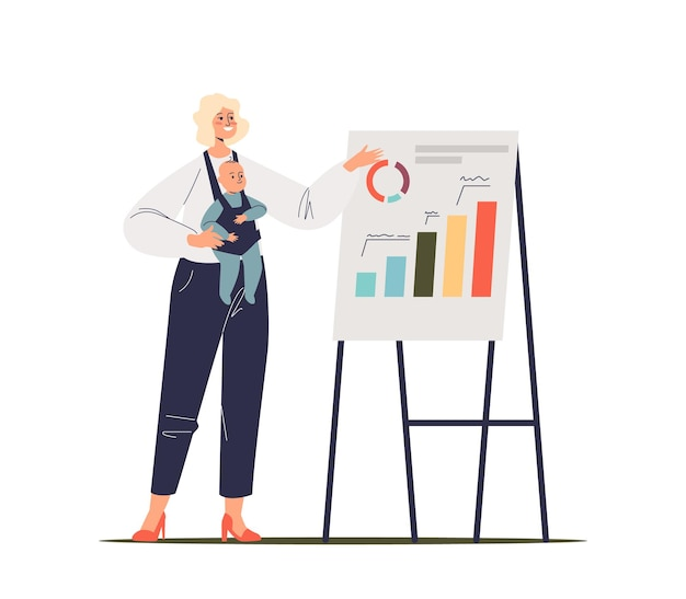 Businesswoman with newborn kid present new project, strategy of development or report with financial charts on flipchart. successful mother at work. cartoon flat illustration