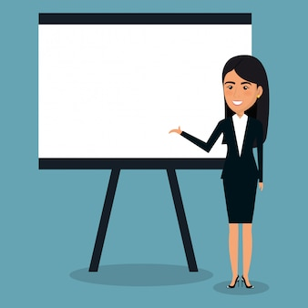 Businesswoman with paperboard for presentation illustration