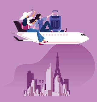 Businesswoman with suitcase sit on top of airplane to travel