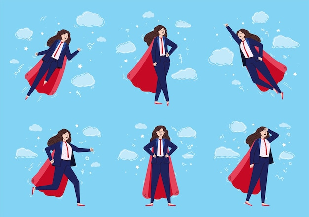 Businesswoman with super hero power flying in the sky