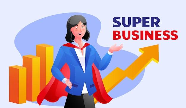Деловая женщина в плаще супергероя с графиками позади нее и текстовой иллюстрацией super business