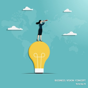 Businesswoman with telescope standing on light bulb