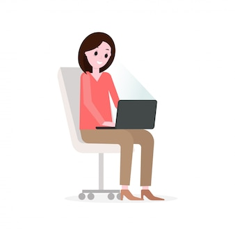 Businesswoman working, cartoon vector character