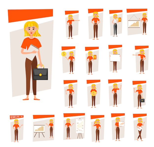 Businesswoman working character design set. the girl shows on the development chart. 12 poses vector illustration.