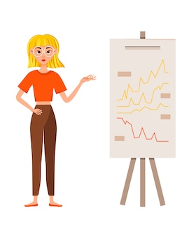 Businesswoman working character design set. the girl shows on the development chart.