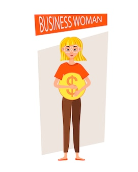 Businesswoman working character  set. the girl points to the dollar icon.  illustration.