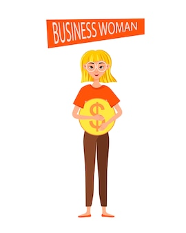 Businesswoman working character  set. the girl points to the dollar icon.