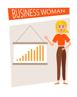 Businesswoman working character  set. the girl shows on the development chart.