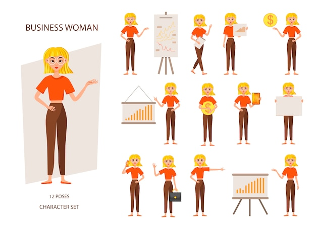 Businesswoman working character set.