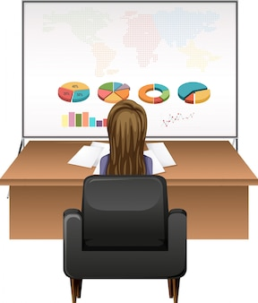 Businesswoman working at the desk illustration