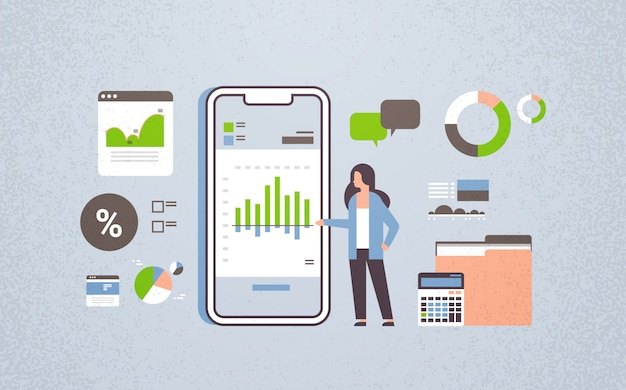 Businesswoman working finance mobile application