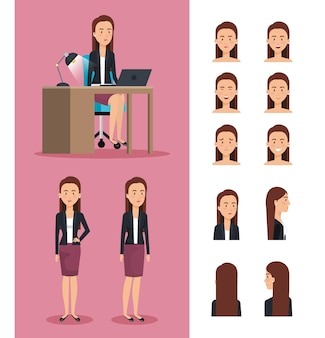 Businesswoman working in the office with set poses characters