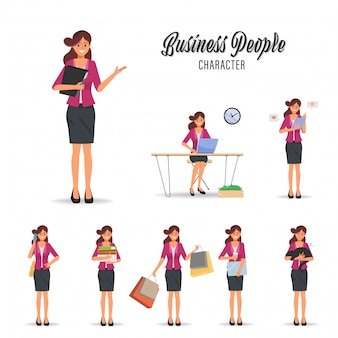 Businesswoman working routine character pose.
