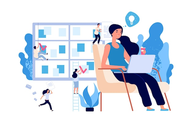 Деловая женщина работает. самоуправление, концепция вектора мозгового штурма. деловая среда с плоскими персонажами крошечных людей. самостоятельная работа предпринимателя и иллюстрация организации