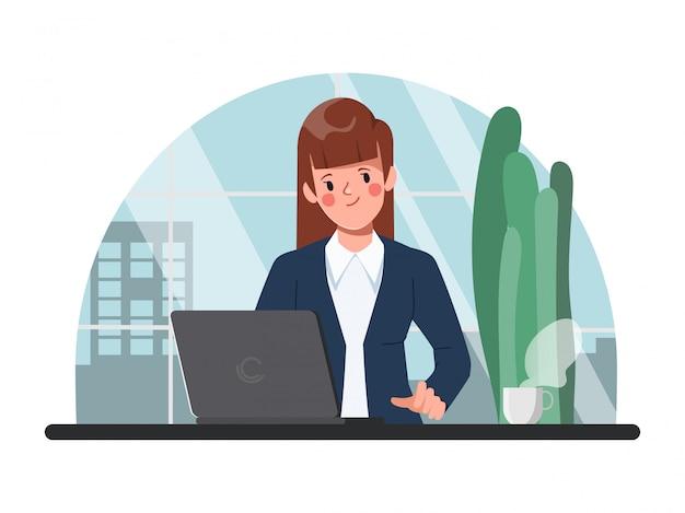 実業家のオフィスキャラクターフラットデザインでラップトップを扱う。ワークスペースのインテリアコンセプトの背景。