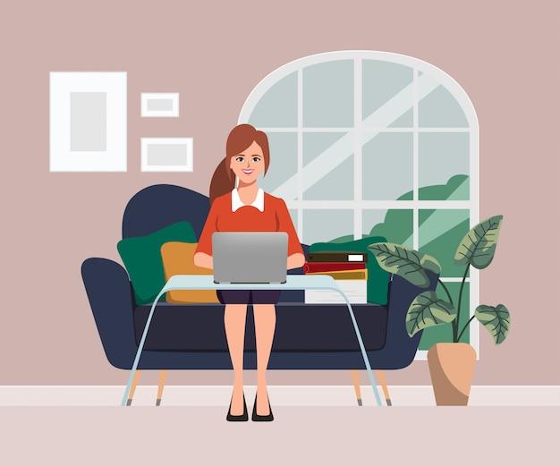 Деловая женщина, работающая с ноутбуком в диване. концепция работы в любом месте. плоский векторный дизайн персонажей.