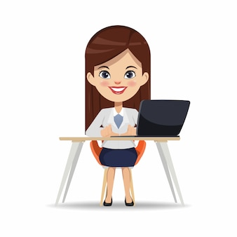 Businesswoman working with a laptop computer.