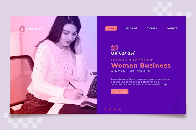 Modello di pagina di destinazione di scrittura della donna di affari