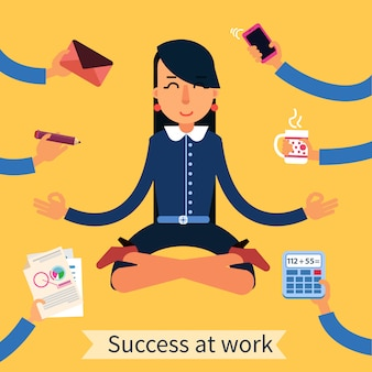 Businesswoman in yoga pose multitasking work