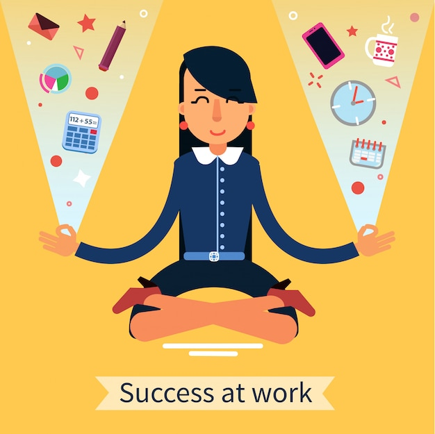 Businesswoman in yoga pose searching the balance at multitasking work