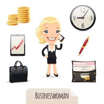 Businesswomans icons set
