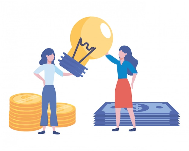 Businesswomen avatar cartoon illustration