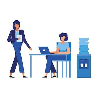 책상, 사무실 비즈니스 및 관리에서 경제인 만화
