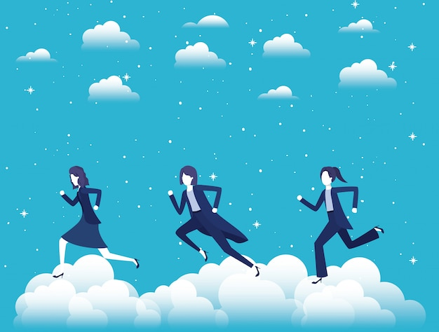 Businesswomen competing in the sky